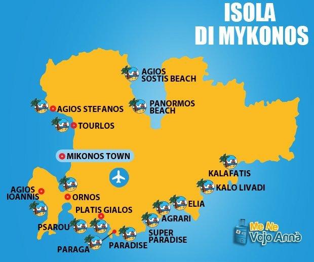 Mappa-Isola-di-Mykonos - Magazine on line of Dreams Events ...